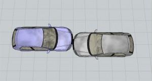 Colisión de vehículos frontal