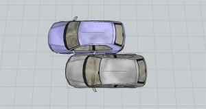 Colisión de vehículos lateral por raspado